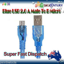 Blue Short USB 2.0 Male To Micro Cable Android Data SYNC Cord Huawei Sony HTC