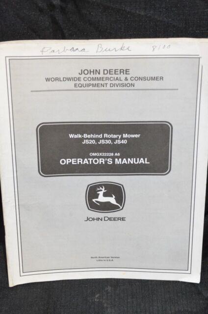 Omm145411 L0 John Deere User Operator S Manual Rear Bagger Flow 7 Bushel