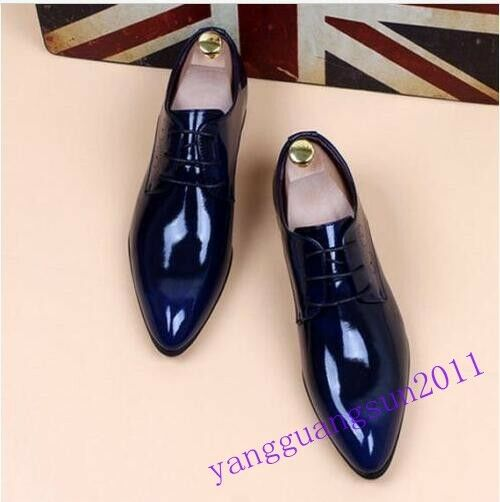 Fashion Uomo pointy toe dress formal shoes patent leather wedding shoes formal increase size 4358f3