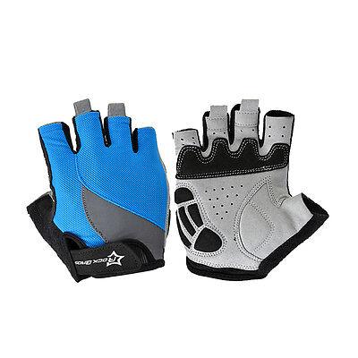 RockBros Mens Gel Bike Cycling Gloves Half Finger Ride Bicycle Gloves Short Blue