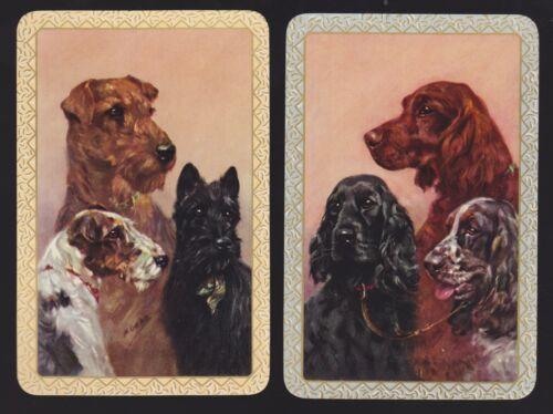 2 Single VINTAGE Swap//Playing Cards DOG TRIO SCOTTIE SETTER MINT Artist M GEAR