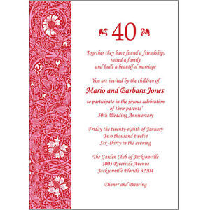 40th Wedding Anniversary.Details About 25 Personalized 40th Wedding Anniversary Party Invitations Ap 013
