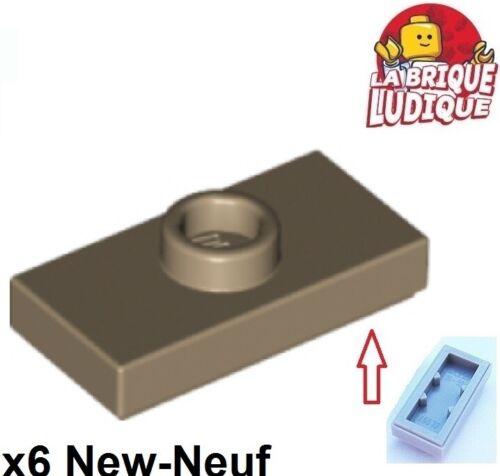 Lego 6x Plate Modified 1x2 1 Stud with Groove beige foncé//dark tan 15573 NEUF