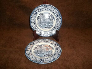 2-Liberty-Blue-Historical-Colonial-Scenes-6-In-Bread-amp-Butter-Plates-Monticello