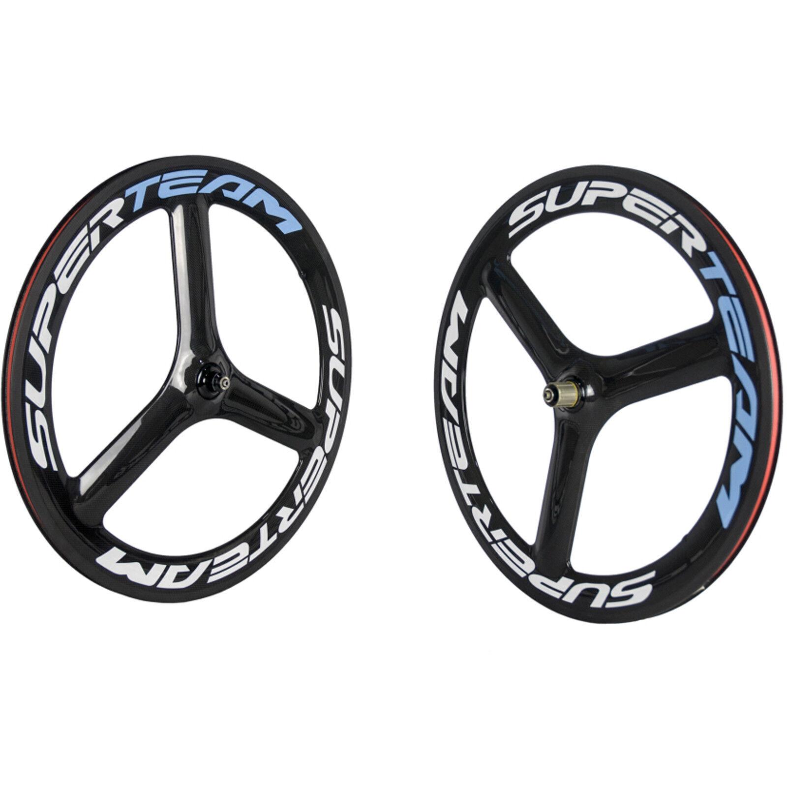 SUPERTEAM 3 Spoke Road Wheels Clincher  65mm Tri Spoke Wheel Carbon Bike Wheelset  no.1 online