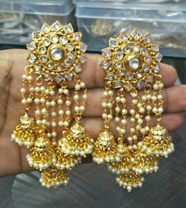 Image Is Loading New Indian Bollywood Gold Plated Jhumka Earrings Ethnic