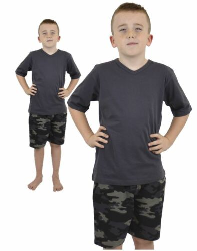 Boys Children/'s Camo V Neck Short Pyjama Pjs Nightwear