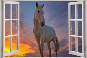 Huge-3D-Window-view-Horse-in-Sunset-Wall-Sticker-Mural-Art-Decal-Wallpaper-1116