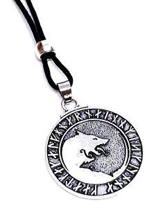 Wolf-Rune-Pendant-Viking-Asgard-Odin-039-s-Heathen-Geri-Freki-Beaded-Lace-Necklace