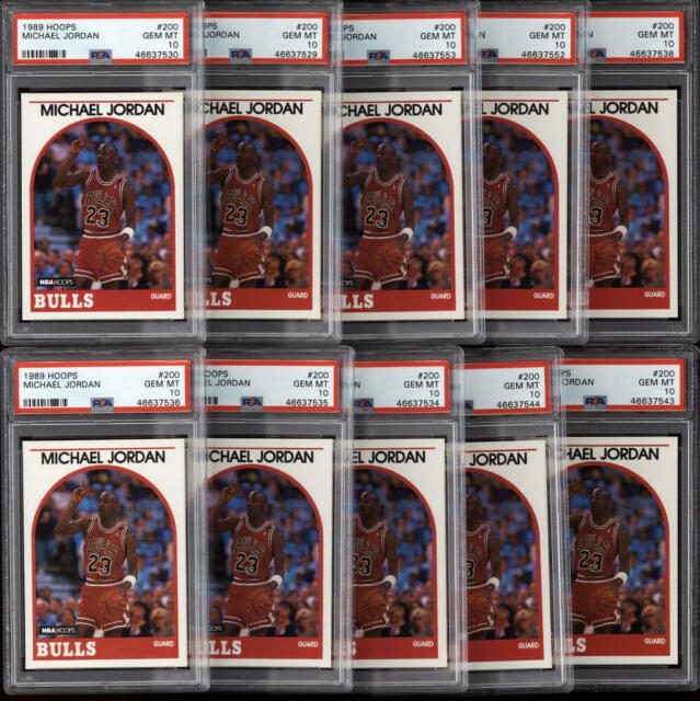 1989-90 Hoops #200 Michael Jordan PSA 10 Gem Mint (10 Count Investment Lot)