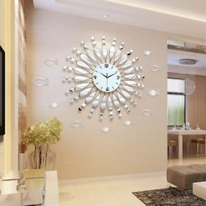 Details about Modern Minimalist Mirror Wall Clock Living Room Decor Quiet  quartz Clocks White