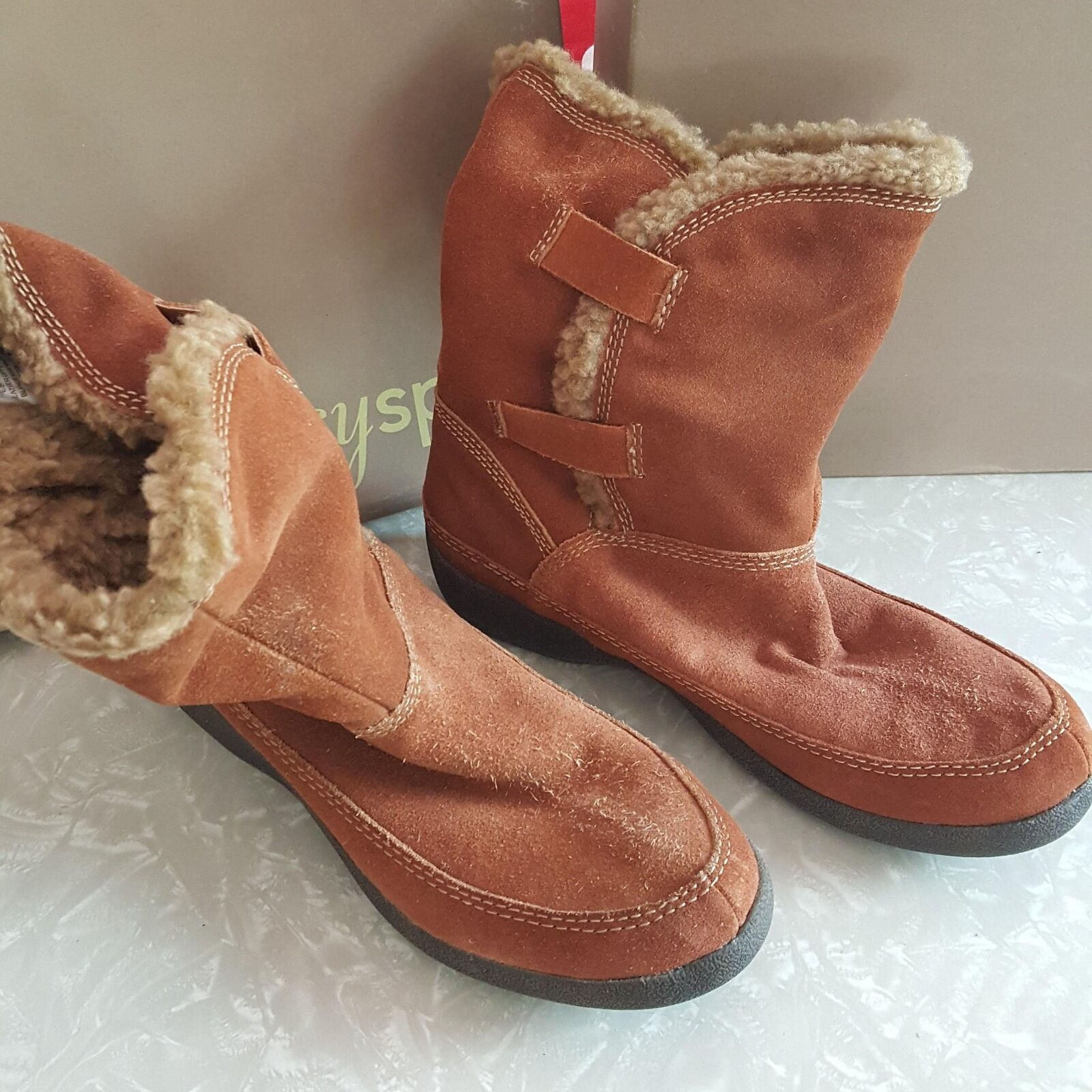 Easy Spirit Genuine Leder Carmel Braun Eswestwind Faux Fur Winter Stiefel  6.5M