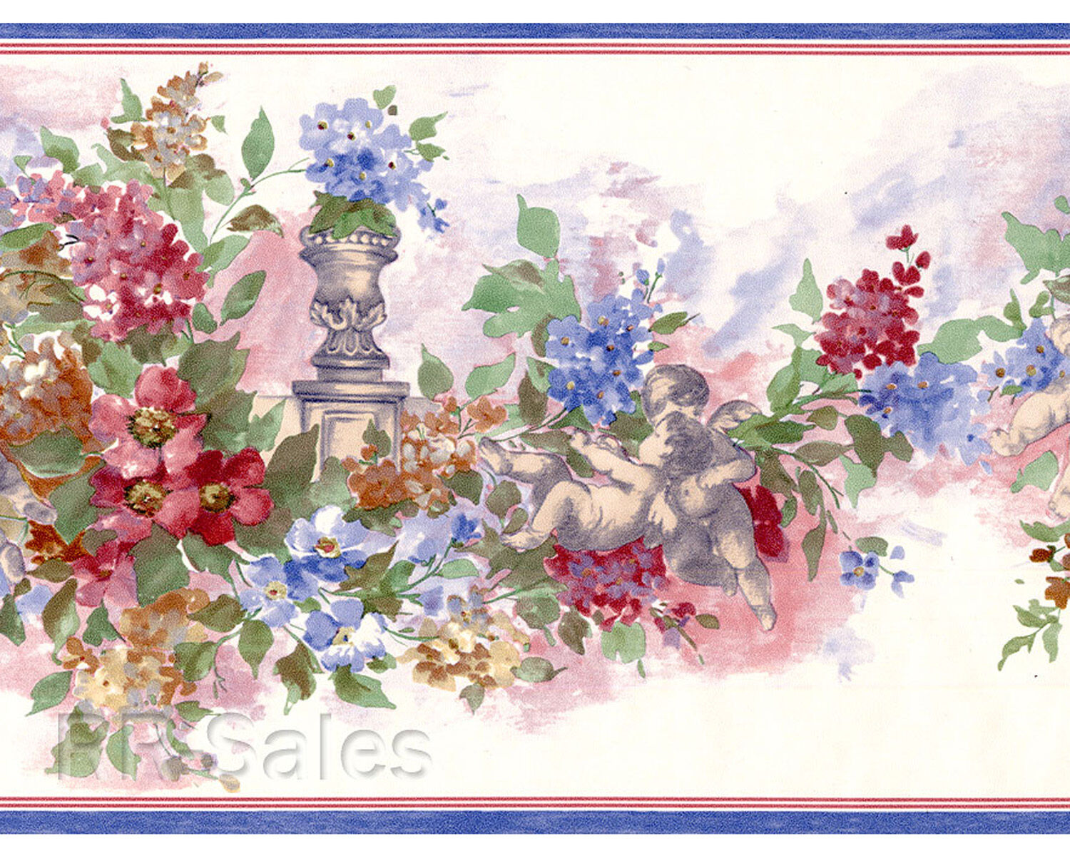 2 Rolls 30 Feet Floral Watercolor Paint Pink Blue White Wallpaper
