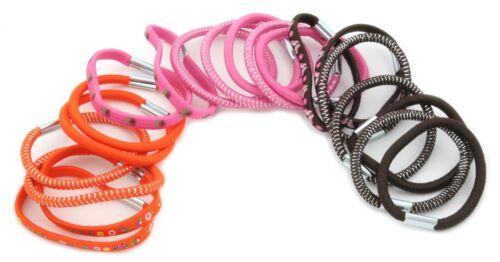 Zest 20 Birds /& Flowers Mix Hair Bands Hair Elastics Brown Pink /& Orange