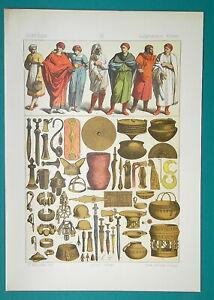 COSTUME-of-Ancient-Gauls-Celts-amp-Celtic-Utensils-1883-Color-Litho-Print
