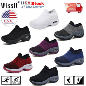 Womens-Ladies-Slip-On-Walking-Running-Sports-Comfy-Sock-Sneakers-Mesh-Shoes-Size
