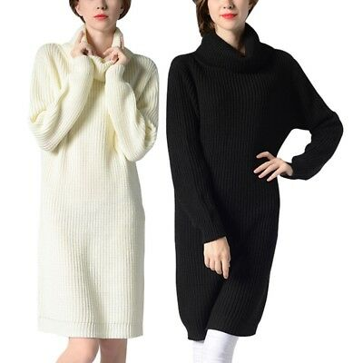 Newly Women Sweater Dress Long Sleeve Turtleneck Knitwear Winter Knitting Tops