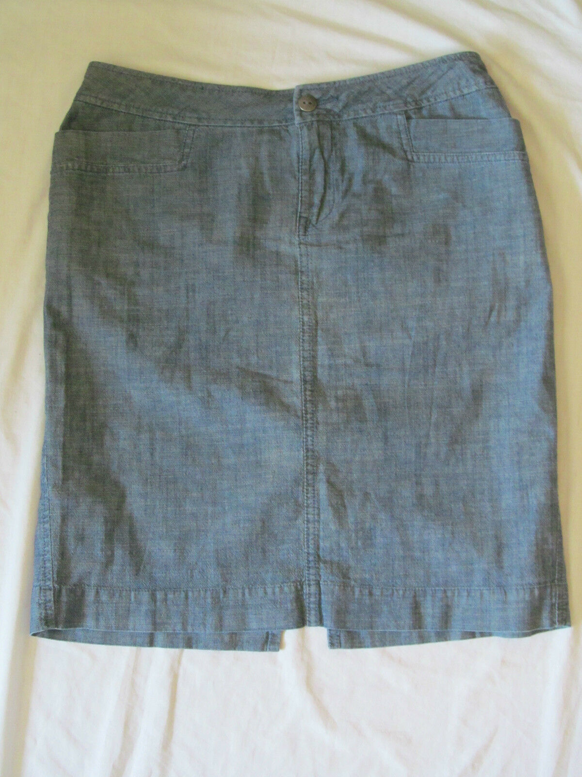 WOMEN'S COLDWATER CREEK A-LINE STRETCH blueE JEAN KNEE LENGTH SKIRT 10P 10 PETITE