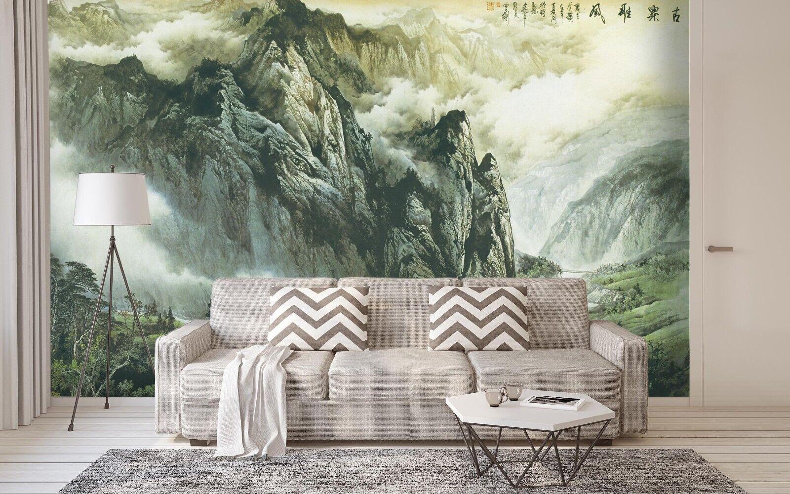 3D Cloud Mountain Painting 6 Wallpaper Murals Wall Print Wallpaper Mural AJ WALL