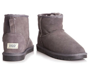 Image is loading OZWEAR-Connection-Unisex-Classic-Mini-Ugg-Boot-Charcoal
