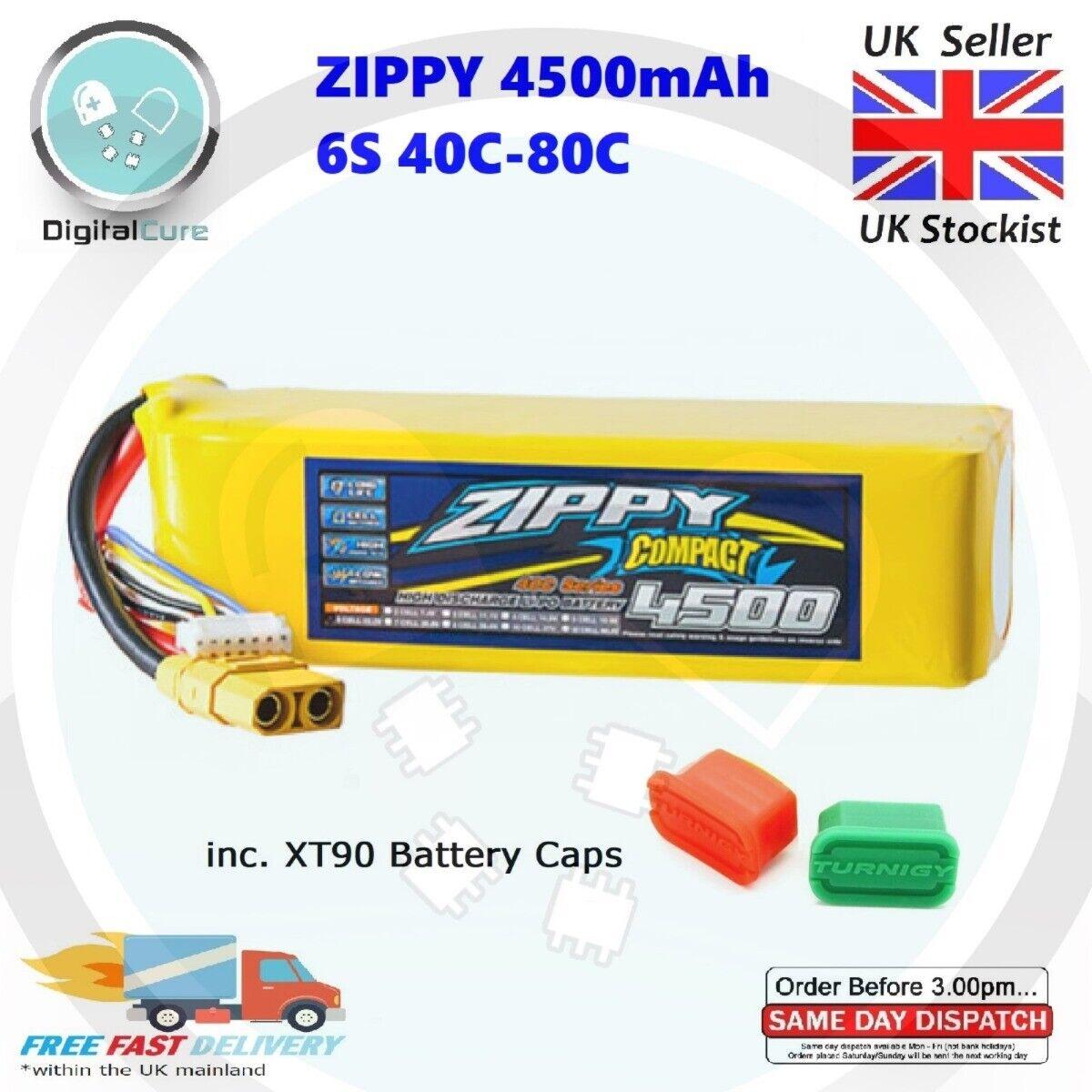 Zippy 4500mAh 6S 22.2V 40C-80C XT90 Lipo Battery + Caps - 5000 3000 4000