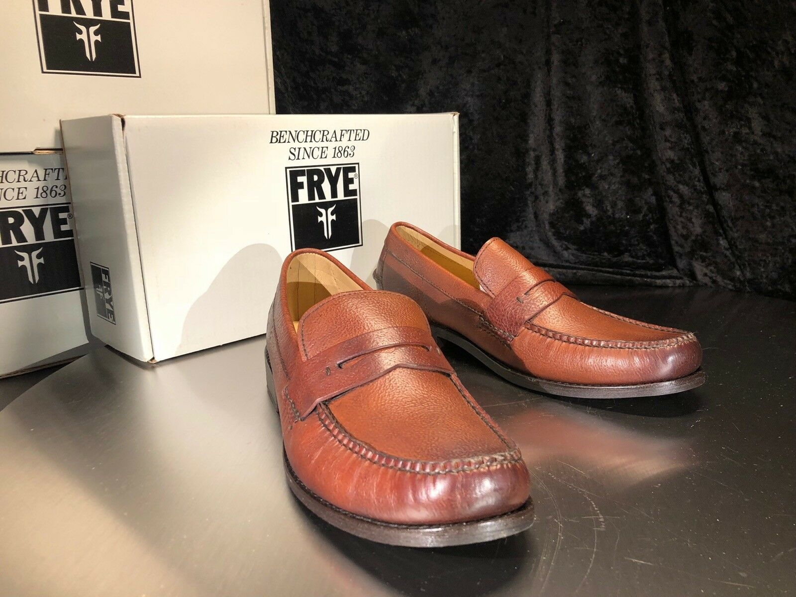 FRYE Douglas Penny Hammered Whiskey Brown Leather Loafers shoes 87587 3487587 WHS