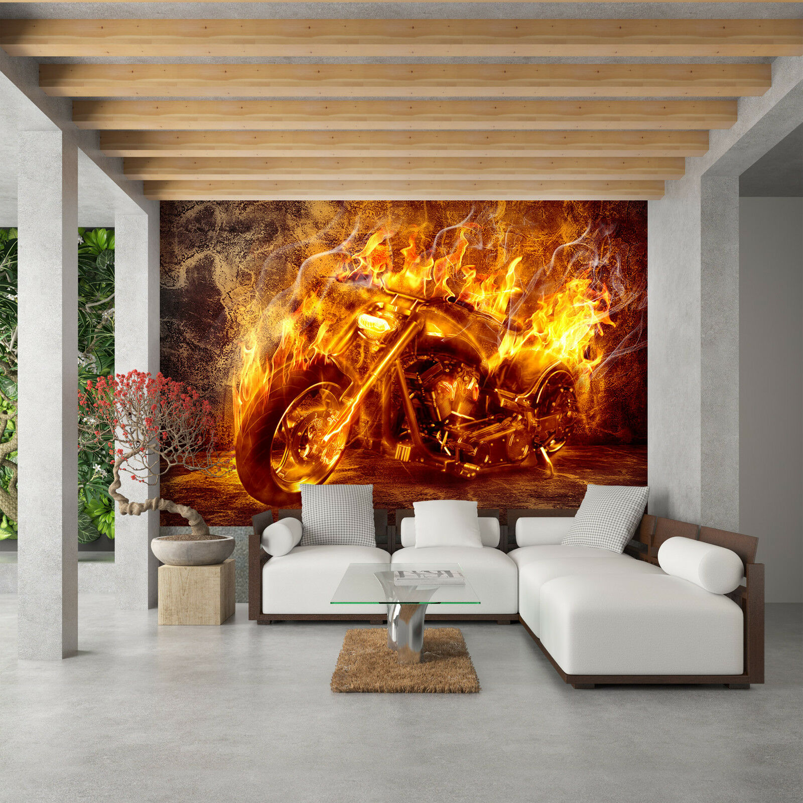 Tapete Vlies Fototapete modernes Design Motorrad Harley Chopper in Flammen Feuer