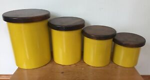 Vtg-70s-Copco-Sam-Mann-Japan-Yellow-Enamel-Tin-Set-4-Kitchen-Canisters-Wood-Lids
