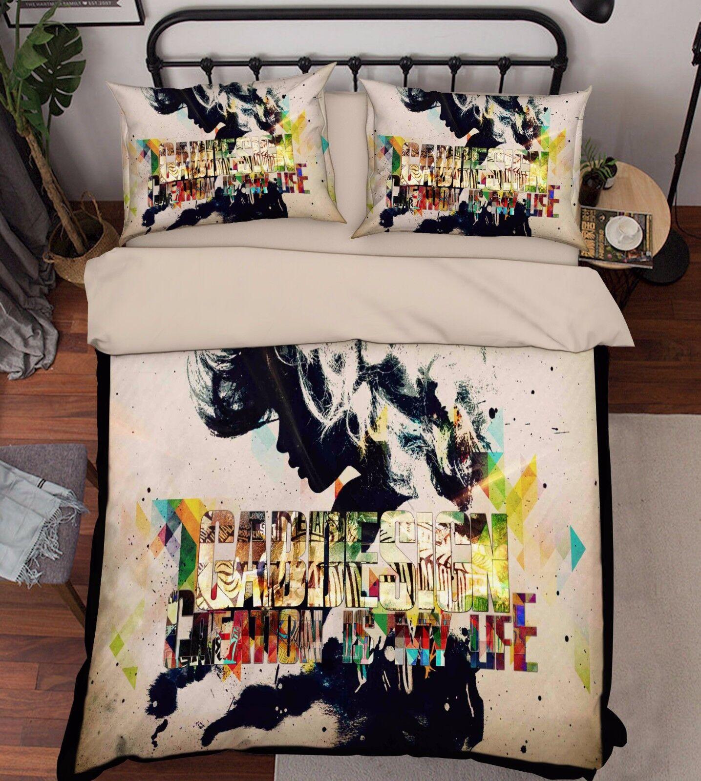 3D Graffiti 906 Bed Pillowcases Quilt Duvet Cover Set Single Queen UK Summer