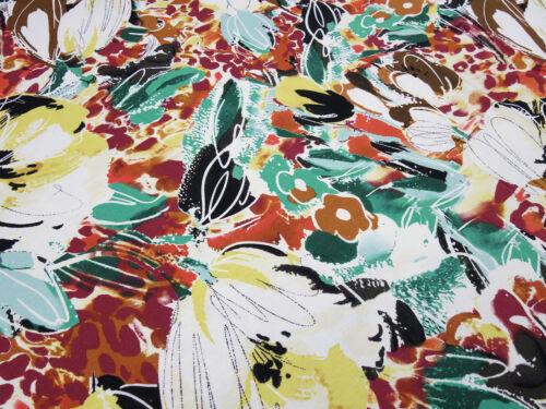 Sustancia viscosa Jersey flores abstracto ecrú verde marrón rojo amarillo multicolor vestidos de tela