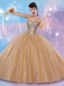 c783e3fe009fc Details about Gold White Quinceanera Dress Gowns Sweet 16 Dresses Vestido  15 Anos Formal Dress