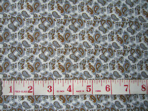 White-Grey-Tan-Tiny-Paisley-100-Cotton-Fabric-60-034-Wide-Crafts-Dolls-Clothes