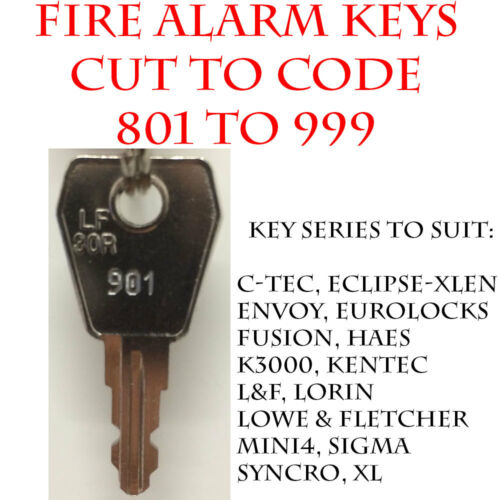 Fire Alarm Panel//Fire Isolation Switch Replacement Keys Cut to Code 801 to 999