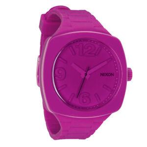 NIXON-Women-039-s-A265-644-Analog-Shocking-Pink-Dial-Fun-Watch-Silicone-Plastic-New