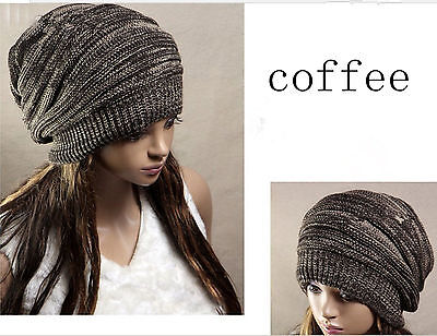 Hot Unisex Womens Mens Knit Baggy  Beret Hat Winter Warm Oversized Ski Cap