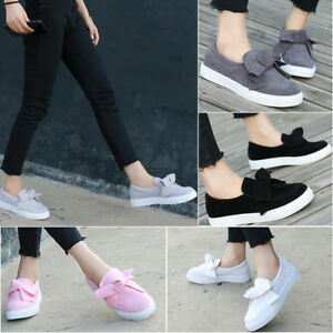 Women-039-Bow-Flat-Canvas-Platform-Slip-on-Toe-Sneakers-Lazy-Shoes-Causal