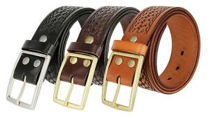 """Heavy Duty Basketweave Full Genuine Leather Work Uniform Gun Belt 1-3//4/"""" Wide"""