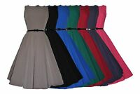 40's 50's Retro Vintage Audrey Classic Swing Rockabilly Dress 7 Colours New 8-20