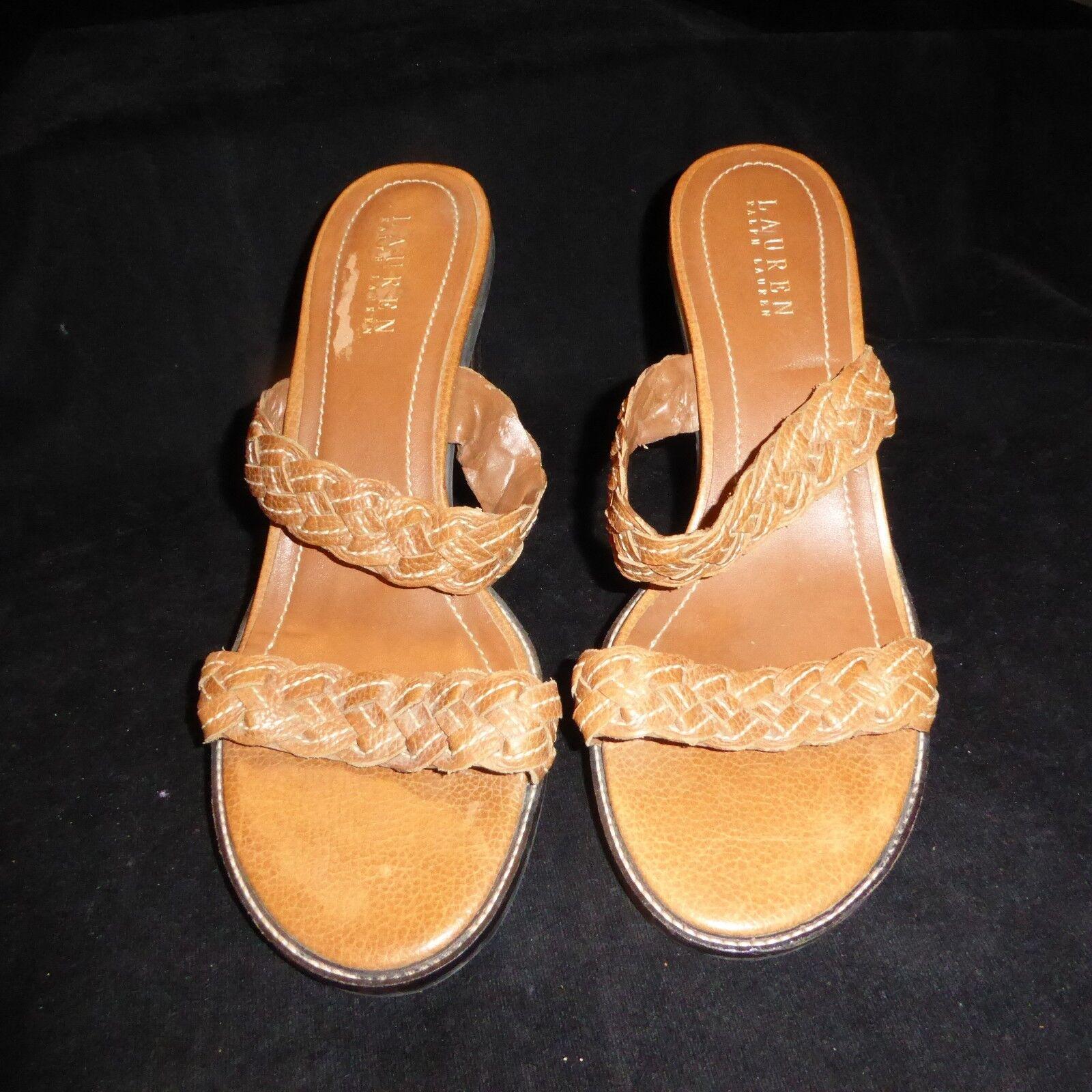 LAUREN RALPH LAUREN KARDELLE Brown Braided Leather Slip On Sandals 3 Heels 8 1/2