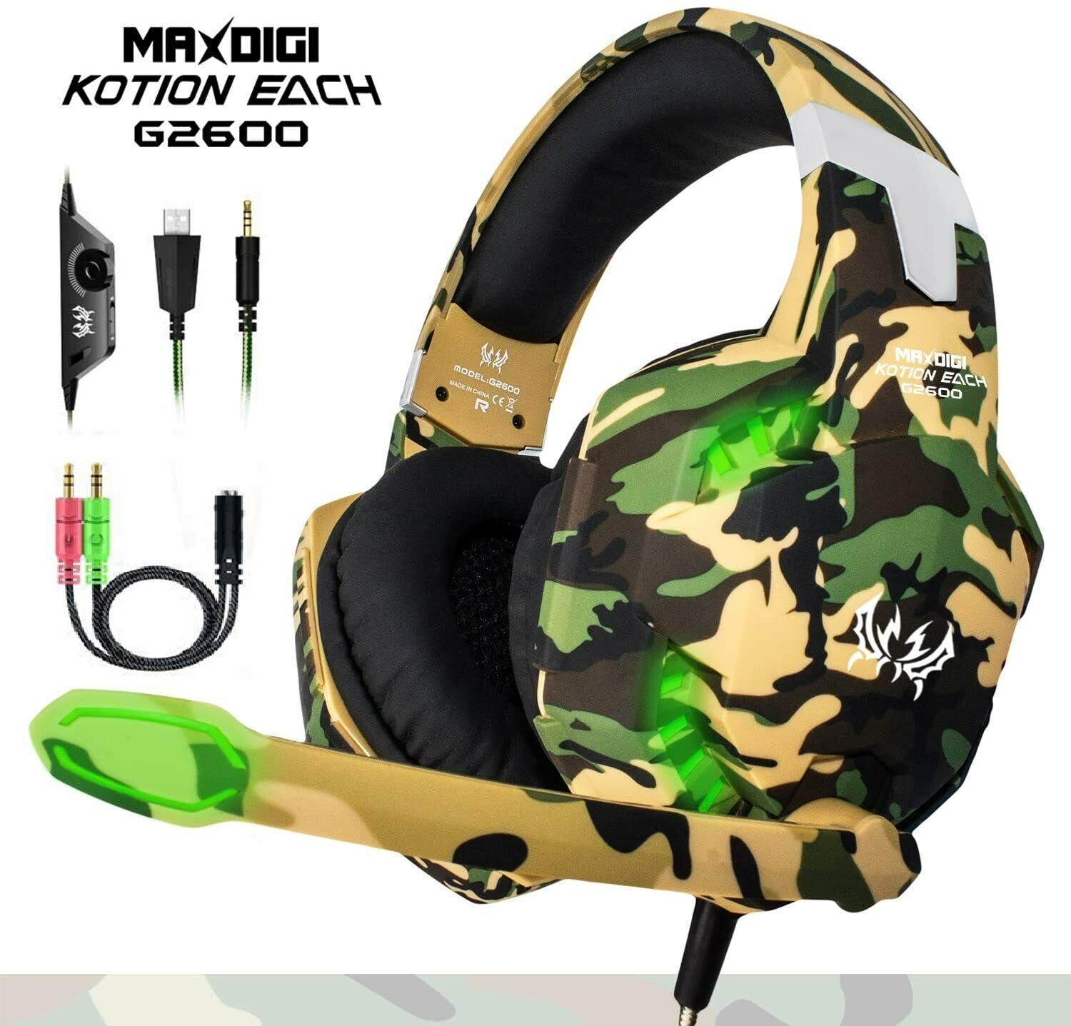 Gaming Headset USB Wired Over LED Headphones Stereo Mic For Xbox One/PS4 PC UK