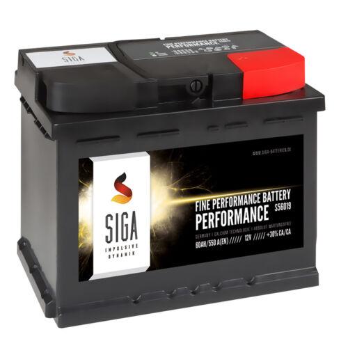 SIGA Autobatterie 12V 60Ah Starterbatterie statt 54Ah 55Ah 56Ah KFZ PKW Batterie