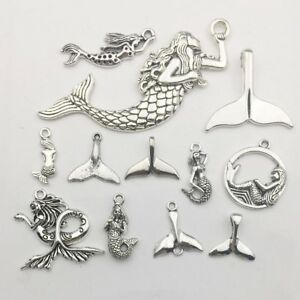 SC6227 4 Whale Tail Charms Antique Silver Tone Beautiful Detailing