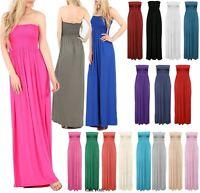 Womens Strapless Maxi Dress Ladies Sheering Boobtube Bandeau Long Plus Size 8-22