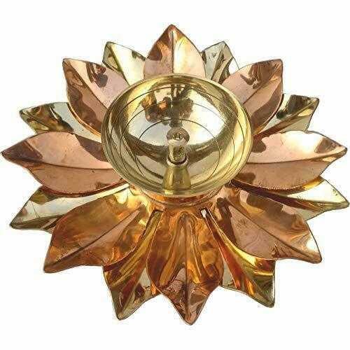 Handcrafted Brass Lotus Kuber Leaf Shape Diya with Glass Base 5 Inch