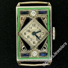 Art Deco 14K Gold Filled Ladies Elgin Rectangular Old Diamond Enamel Wrist Watch