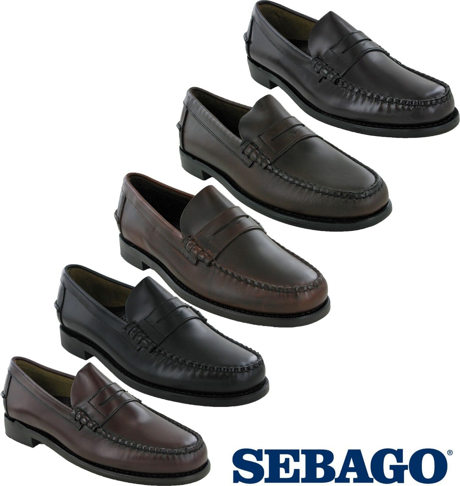 Sebago Classic Leather Mens Casual Formal Smart Slip On Loafer shoes UK5 - 15