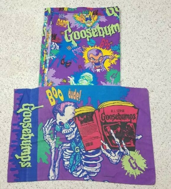 Vtg Goosebumps Full / Queen Top Sheet Pillow Case 90s Set R.L. Stine