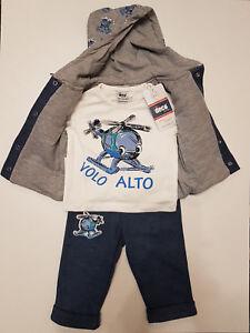 Baby 3-teiliges Set Hose T-Shirt Jacke//Weste mit Kaputze Größe 68 80 86