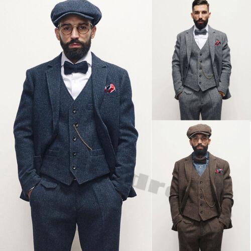 Mens Fashion 3 Piece Tweed Suit Business Groom Vest Pant Coat Wool Vintage Suits