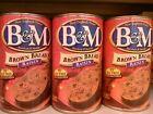 3 B&M Canned Brown Raisin Bread. Burnham & Morrill B & M  16 oz  Ready To Serve